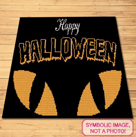 Happy Halloween Crochet Pattern - Cat's eyes Blanket and Pillow Pattern