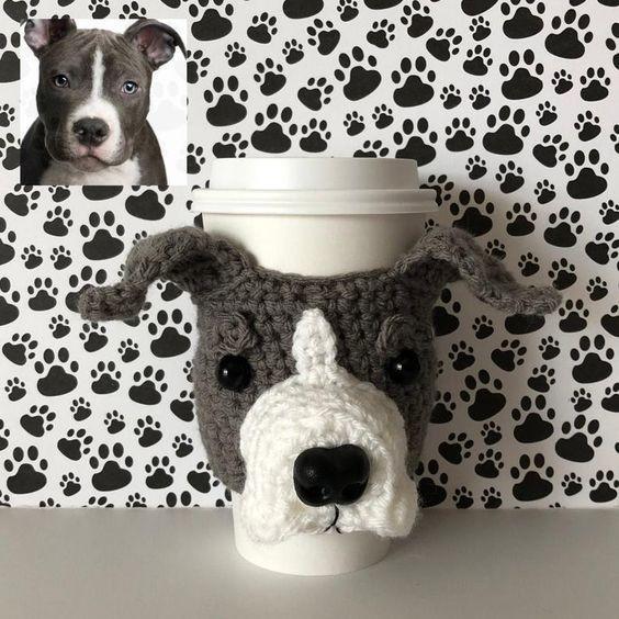 Pit Bull Cup Cozy Crochet Pattern by HookedbyAngel