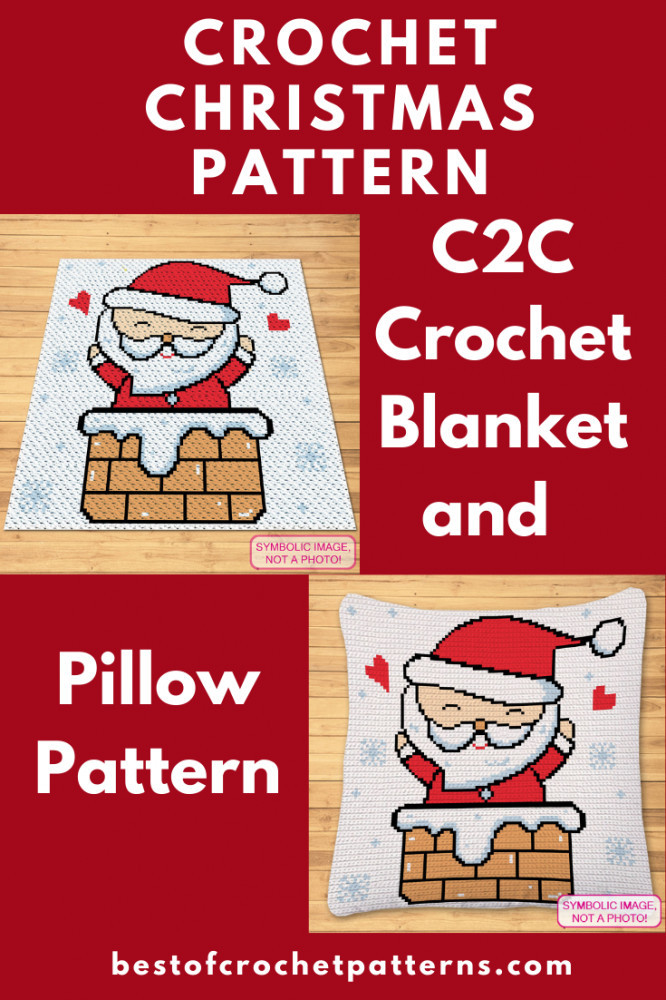 Crochet Santa Pattern - C2C Christmas Blanket and Pillow Pattern