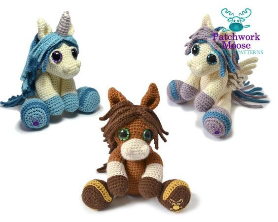 Pony, Pegasus, and Unicorn Crochet Pattern by PatchworkMoose