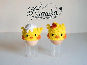Crochet chick egg cover from Krawka