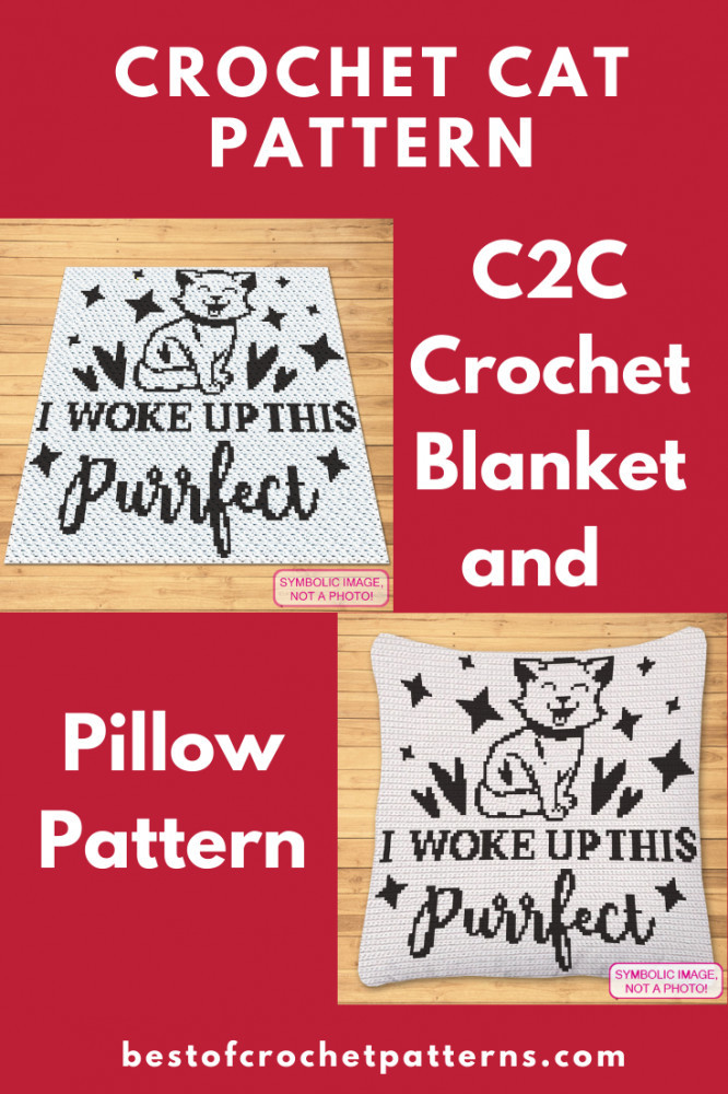 C2C Cat Blanket Pattern and Crochet Pillow Pattern