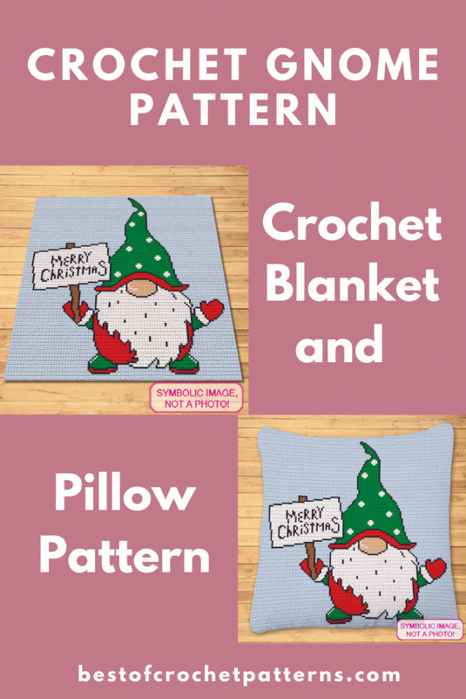 Crochet Gnome Pattern - Christmas Blanket and Pillow Pattern