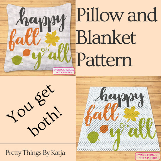 Happy Fall Y'all Crochet blanket and pillow pattern - Pretty Things By Katja