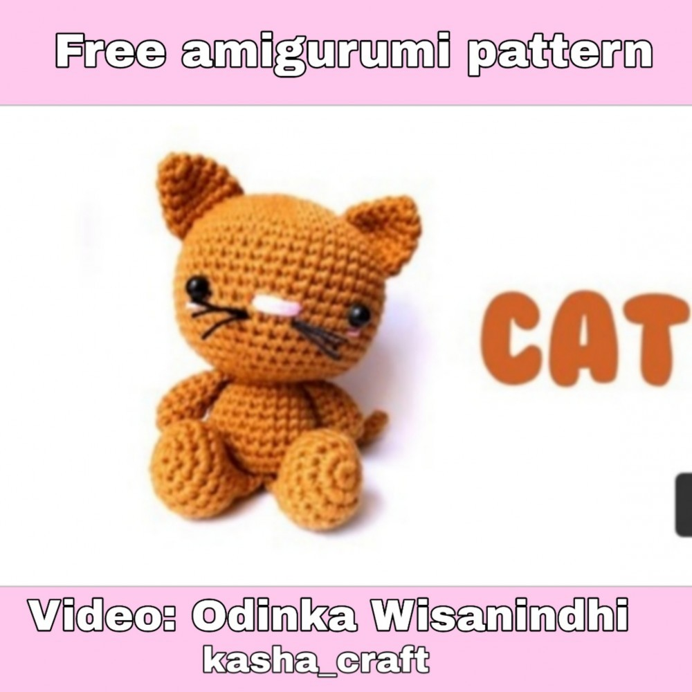 Valentine's Day Cat crochet pattern - Amigurumi Today | 1000x1000