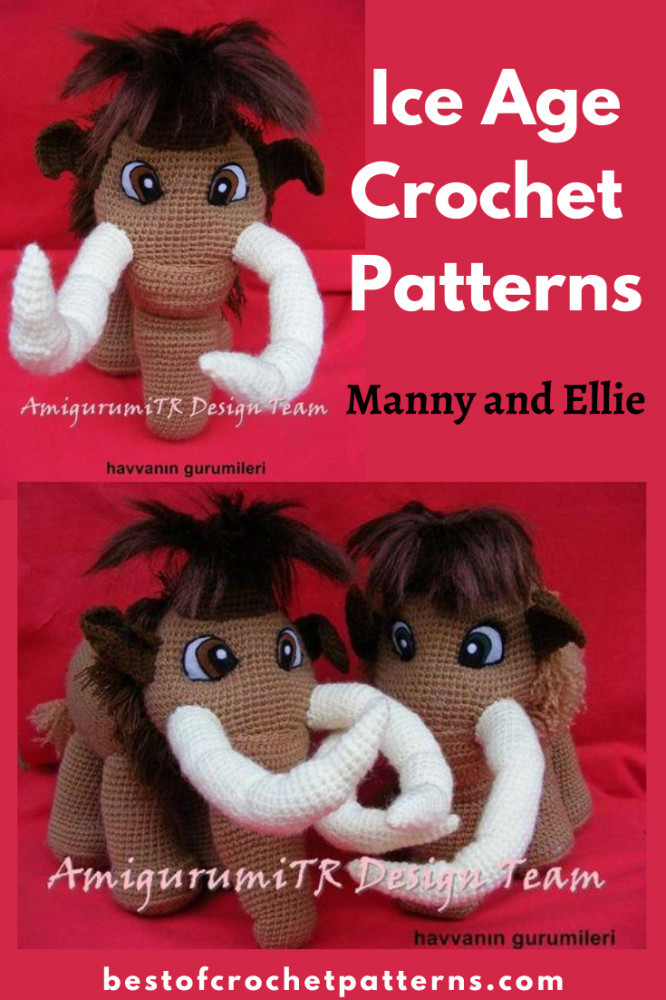 Ice Age Manny and Ellie Crochet Patterns by AMIGURUMITRDESIGN