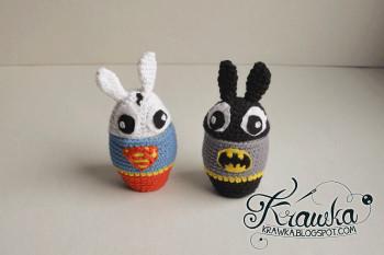 Superbunny and Bunnyman egg cozy by Krawka