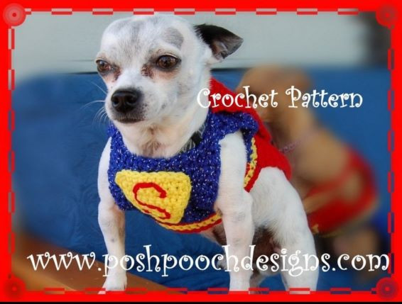 Crochet Superman Costume - Crochet Dog Sweater and a cape