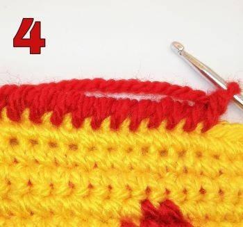 How to crochet Crab stitch - Step 4