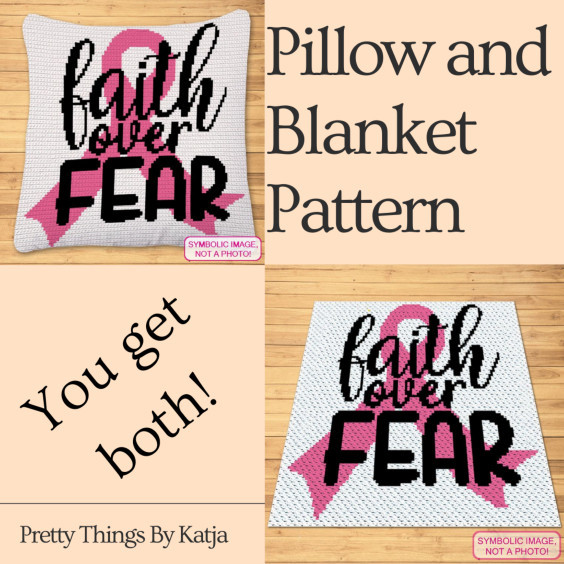 Faith over Fear Pillow and Blanket Crochet Pattern by Pretty Things By Katja