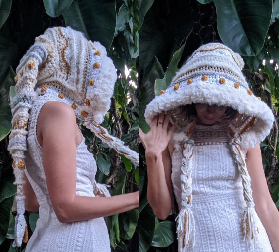 Elf hood - long pointed hood - EarthTricks Crochet Pattern