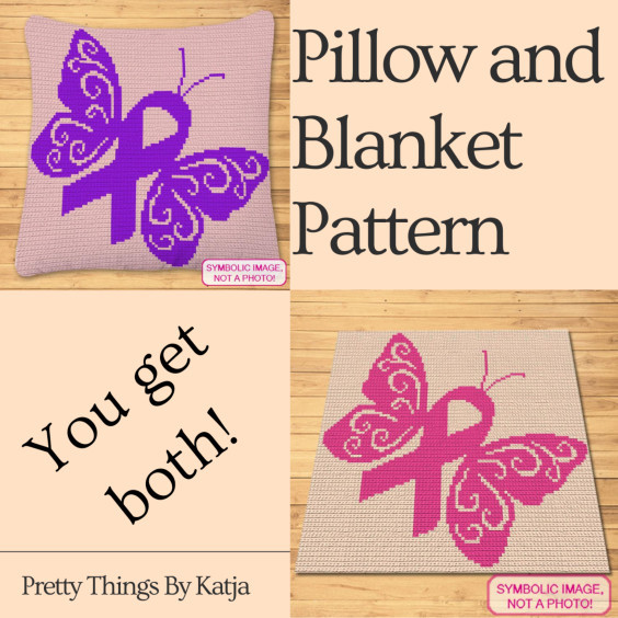 Awareness Butterfly Pillow and Blanket Crochet Pattern by Pretty Things By Katja