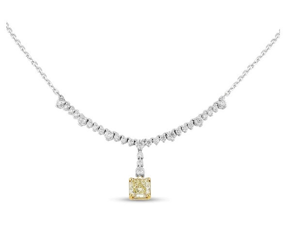 4 CT. T.W. Certified Radiant Fancy Yellow and White Diamond Necklace in 14K White Gold