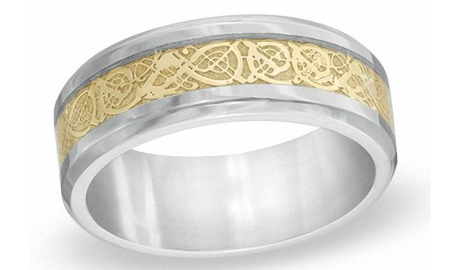 Men's Comfort Fit Filigree Wedding Band