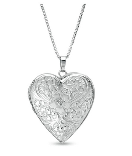 Diamond Accent Heart-Shaped Locket with Etched Flowers in Sterling Silver