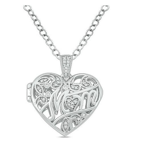 1/10 CT. T.W. Diamond 'Mom' Vintage-Style Heart Locket in Sterling Silver