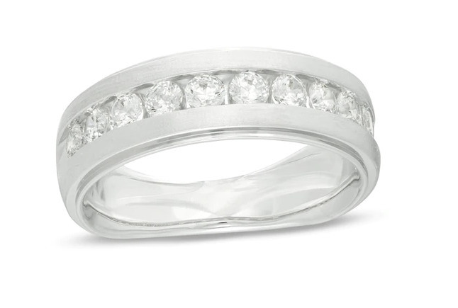 Men's 1 CT Diamond Satin Wedding Band