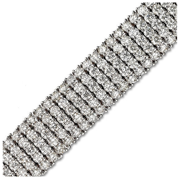 20 CT. T.W. Diamond Five Row Tennis Bracelet in 14K White Gold