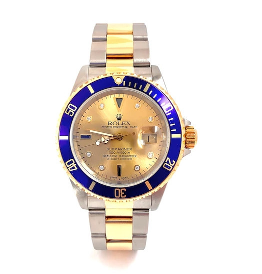 Men's Rolex Submariner 1/15 CT. T.W. Diamond Two-Tone 18K Gold Watch with Champagne Serti Dial