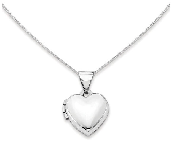 Polished Heart Locket in 14K White Gold