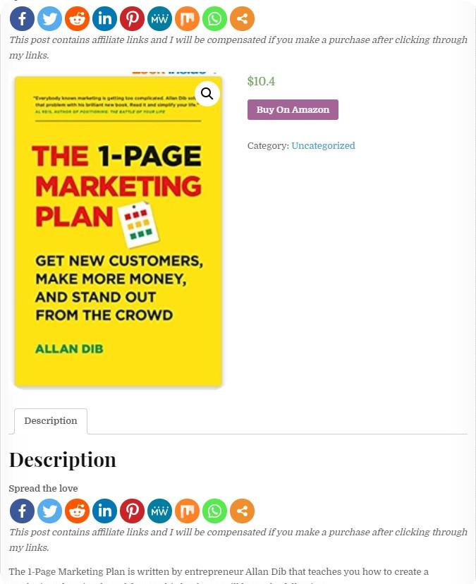 Published Affiliate Marketing Product