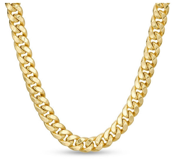 Men's 10.7mm Cuban Curb Chain Necklace in 14K Gold - 26'