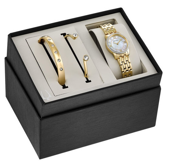 Ladies' Exclusive Bulova Crystal Accent Gold-Tone Watch and Bangle Boxed Set