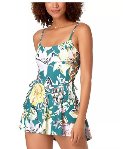 Anne Cole Studio Printed Lace-Up Swim Dress