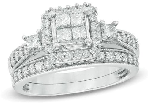 1 CT. T.W. Quad Princess-Cut Diamond Bridal Set in 10K White Gold