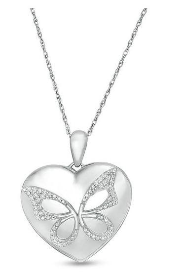 1/15 CT. T.W. Diamond Butterfly Heart Locket in Sterling Silver