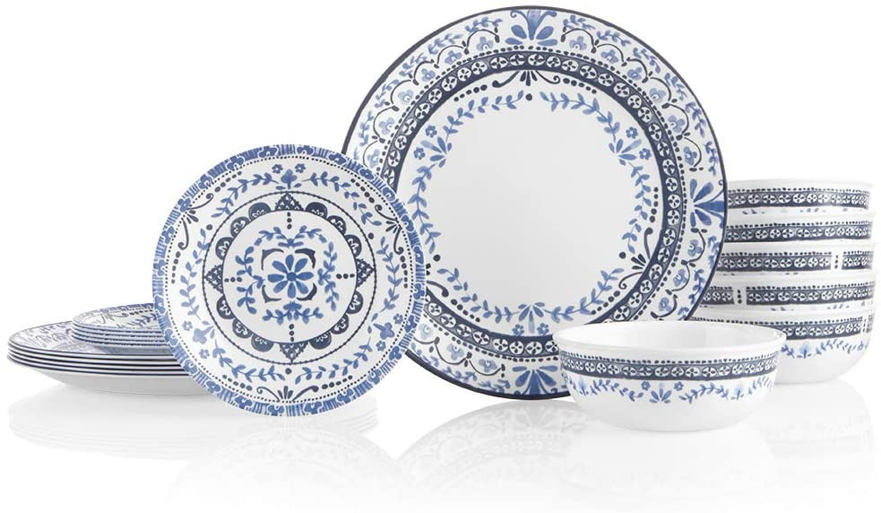Portofino 18-Piece Chip Resistant Dinnerware Set by Corelle