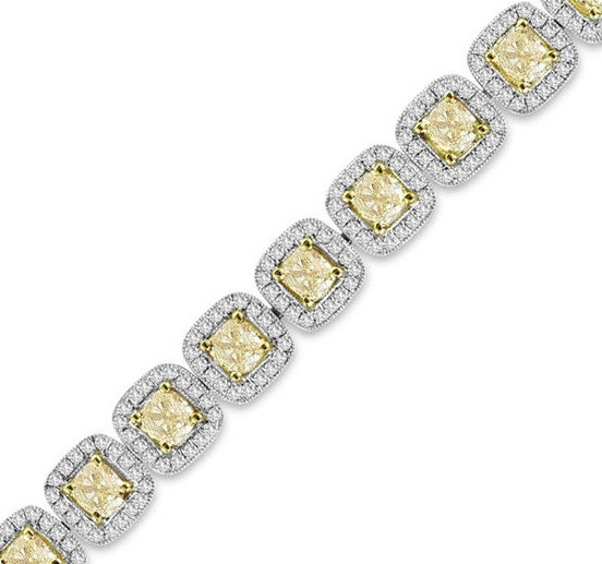 9-1/5 CT. T.W. Yellow and White Diamond Vintage-Style Bracelet in 18K White Gold