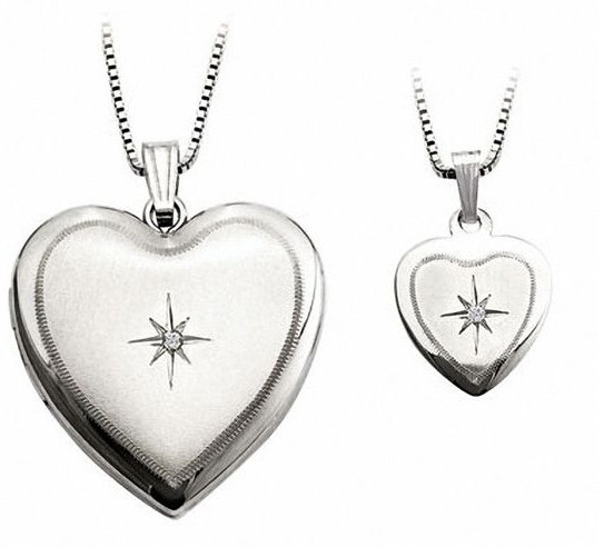 Diamond Accent Mother and Daughter Matching Starburst Heart Locket and Pendant Set in Sterling Silver