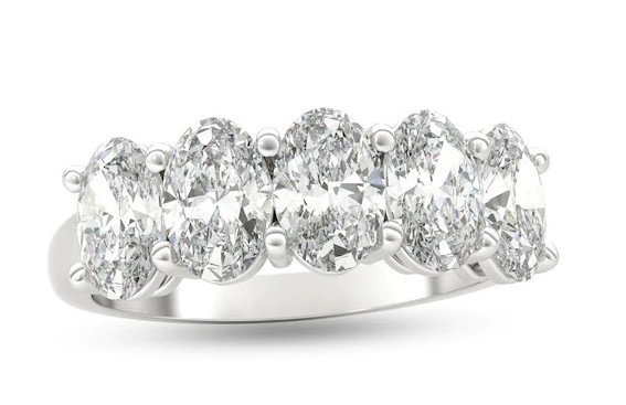 2-1/2 CT. T.W. Oval Diamond Five Stone Anniversary Band in Platinum