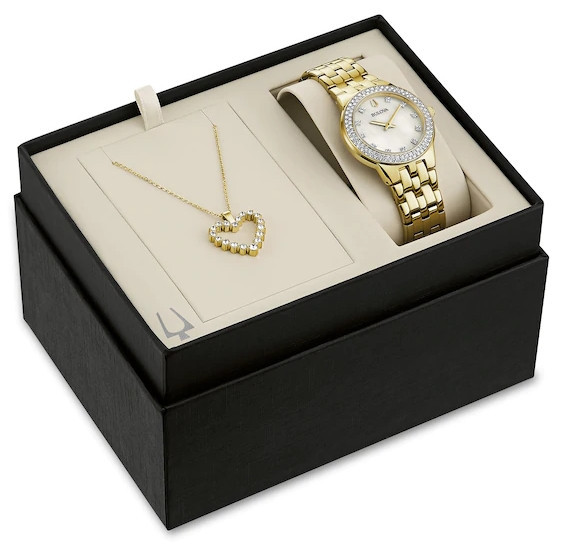Ladies' Exclusive Bulova Crystal Gold-Tone Watch with Mother-of Pearl Dial and Heart Pendant Box Set