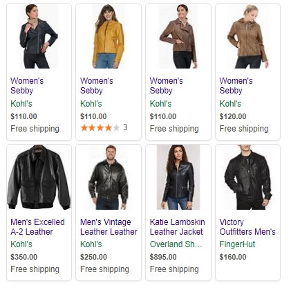 Google Ads Search Leather Jackets