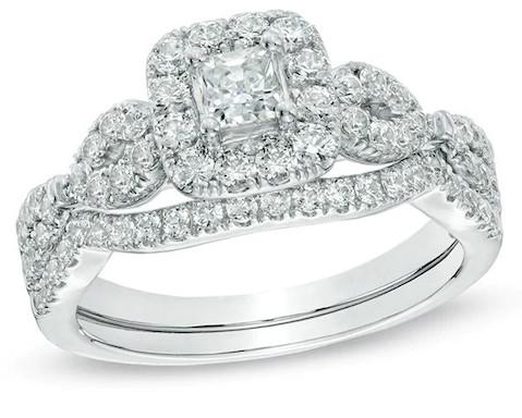 1 CT. T.W. Princess-Cut Diamond Frame Twist Bridal Set in 14K White Gold