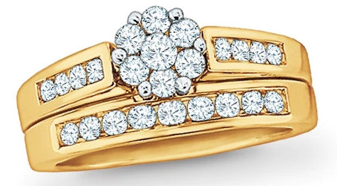 1 CT. T.W. Diamond Flower Bridal Set in 10K Gold