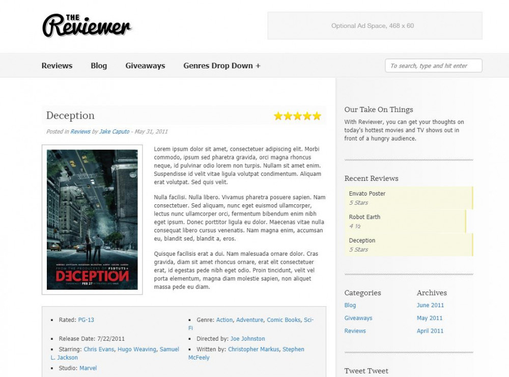 The Reviewer WP Theme
