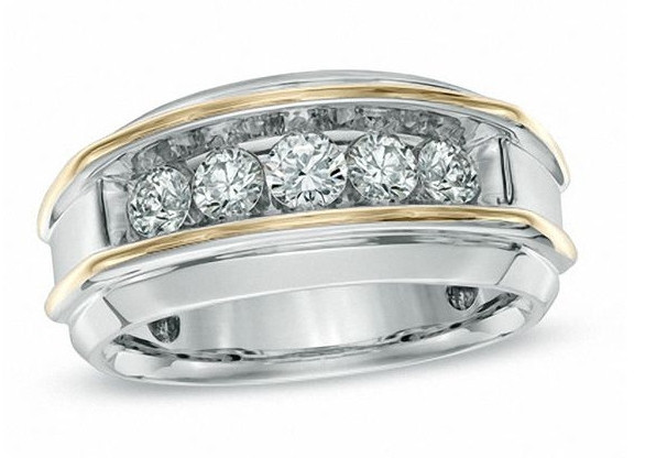 Men's 1 CT Diamond Two-Tone Gold Band