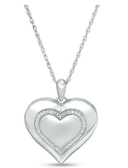 1/15 CT. T.W. Diamond Heart with Outline Locket in Sterling Silver