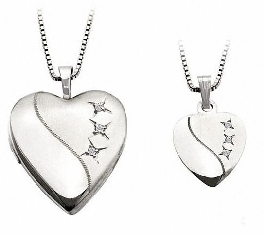 Diamond Accent Mother and Daughter Matching Heart Locket and Pendant Set in Sterling Silver