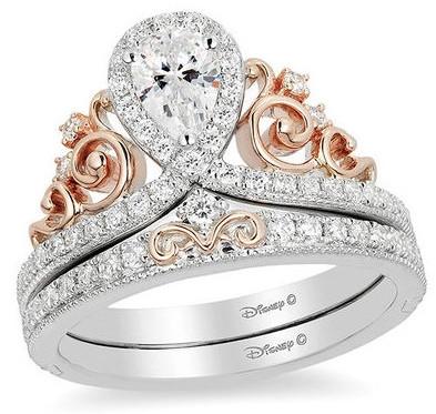 Enchanted Disney Princess 7/8 CT. T.W. Pear-Shaped Diamond Frame Tiara Bridal Set in 14K Two-Tone Gold