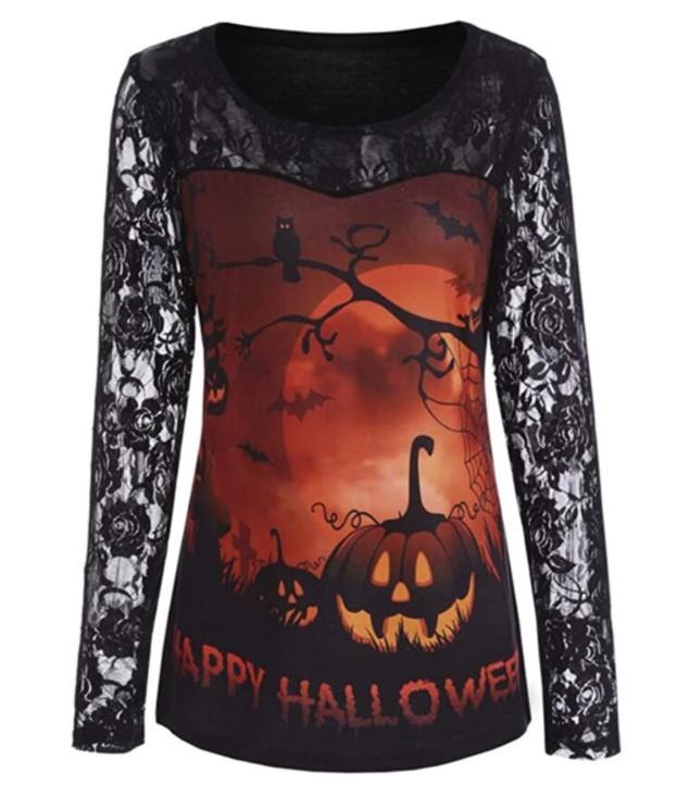 Retro Floral Lace Long Sleeve Pumpkin Halloween Blouses