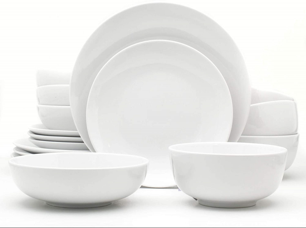 Euro Ceramica White Essential Chip Resistant Collection Dinnerware