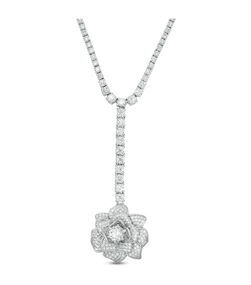 Vera Wang Love Collection 10-3/4 CT. T.W. Diamond Rose 'Y' Necklace in 18K White Gold - 16'