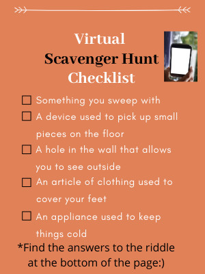 Social Distancing and Keeping Kids Connected- virtual scavenger hunt checklist