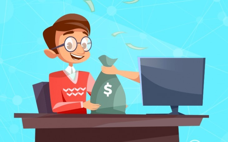cartoon man sitting at a desk with as arm holding a bag of money reaching out of his computer screen