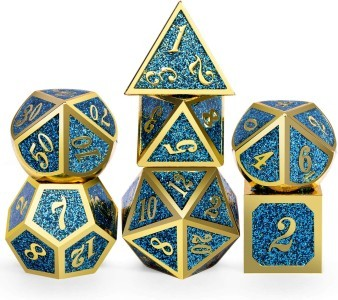 glitter blue and gold metal dice