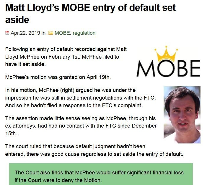 Matt Lloyds MOBE Entry Of Default Set Aside